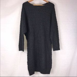 Joan Vass Charcoal Gray Wool Sweater Dress• XL